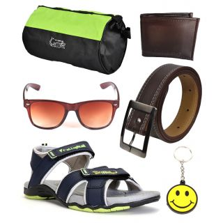 Elligator Stylish Floater With Gym Bag,Wallet,Belt,Sunglass And Smiley Key Chain Combo