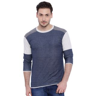 Campus Sutra Blue Round Neck Full Sleeve T-Shirt for Me