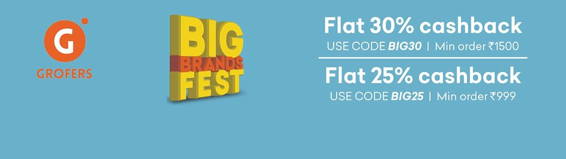 Flat 30% Cashback On Big Brands Coupon Code