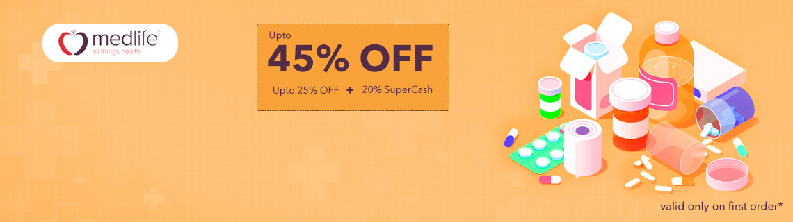 Upto 25% OFF + 20% SuperCash On Medicines Coupon Code